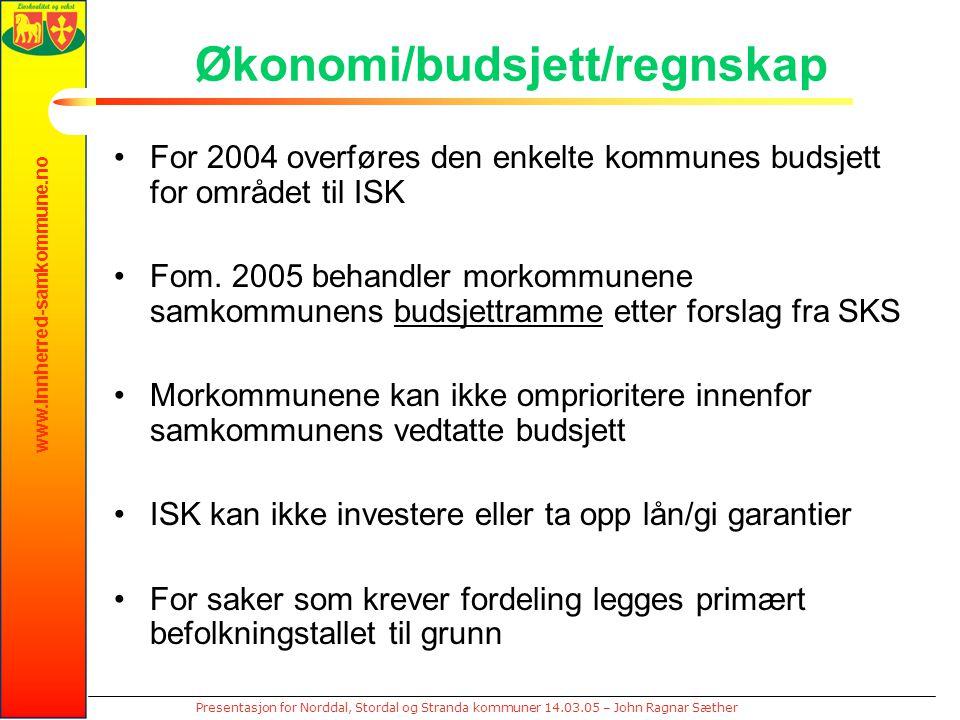 www.innherred-samkommune.no Presentasjon for Norddal, Stordal og Stranda kommuner 14.03.05 – John Ragnar Sæther Økonomi/budsjett/regnskap For 2004 overføres den enkelte kommunes budsjett for området til ISK Fom.