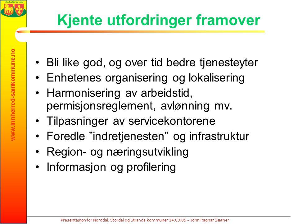 www.innherred-samkommune.no Presentasjon for Norddal, Stordal og Stranda kommuner 14.03.05 – John Ragnar Sæther Kjente utfordringer framover Bli like