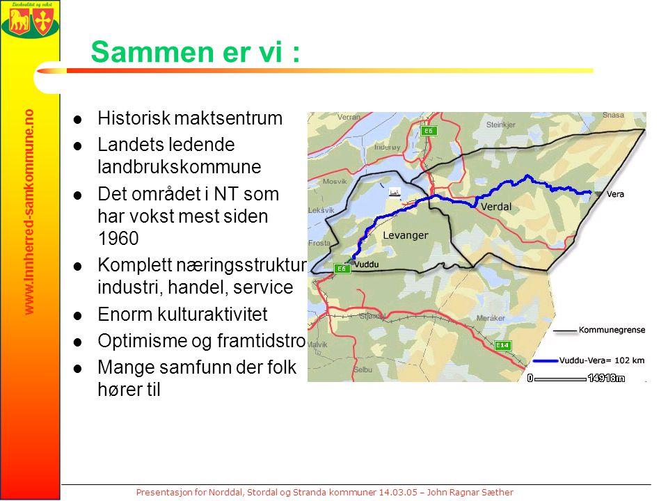 www.innherred-samkommune.no Presentasjon for Norddal, Stordal og Stranda kommuner 14.03.05 – John Ragnar Sæther Sammen er vi : Historisk maktsentrum L
