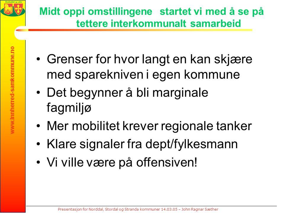 www.innherred-samkommune.no Presentasjon for Norddal, Stordal og Stranda kommuner 14.03.05 – John Ragnar Sæther Midt oppi omstillingene startet vi med