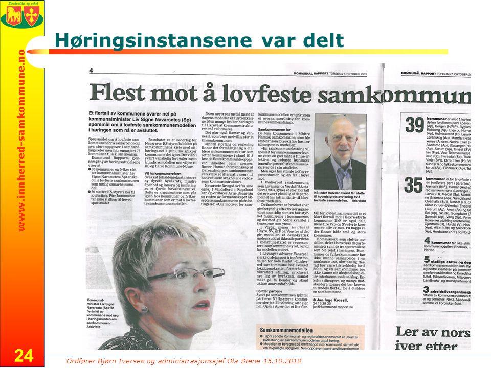 Ordfører Bjørn Iversen og administrasjonssjef Ola Stene 15.10.2010 www.innherred-samkommune.no Høringsinstansene var delt 24