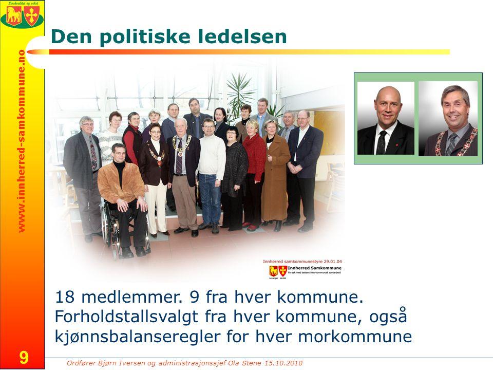 Ordfører Bjørn Iversen og administrasjonssjef Ola Stene 15.10.2010 www.innherred-samkommune.no 9 Den politiske ledelsen 18 medlemmer. 9 fra hver kommu
