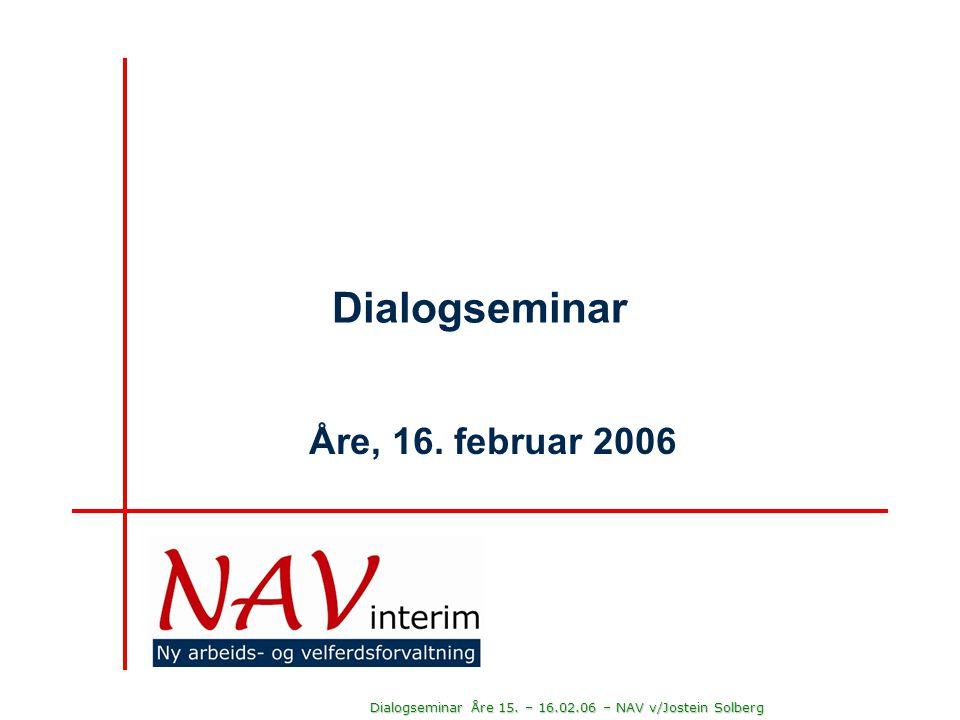 Dialogseminar Åre 15. – 16.02.06 – NAV v/Jostein Solberg Vår største utfordring er arbeidskraft