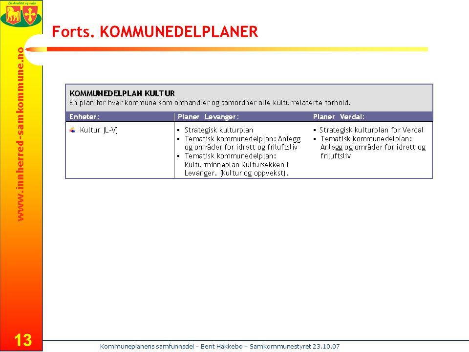 www.innherred-samkommune.no Kommuneplanens samfunnsdel – Berit Hakkebo – Samkommunestyret 23.10.07 13 Forts. KOMMUNEDELPLANER