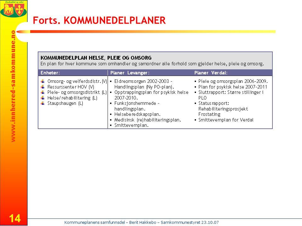 www.innherred-samkommune.no Kommuneplanens samfunnsdel – Berit Hakkebo – Samkommunestyret 23.10.07 14 Forts. KOMMUNEDELPLANER