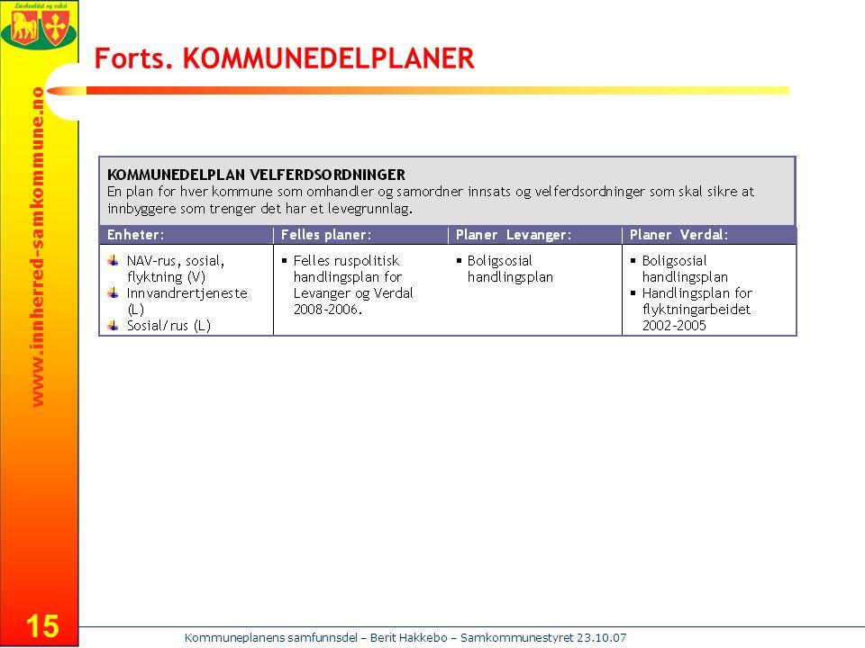 www.innherred-samkommune.no Kommuneplanens samfunnsdel – Berit Hakkebo – Samkommunestyret 23.10.07 15 Forts. KOMMUNEDELPLANER