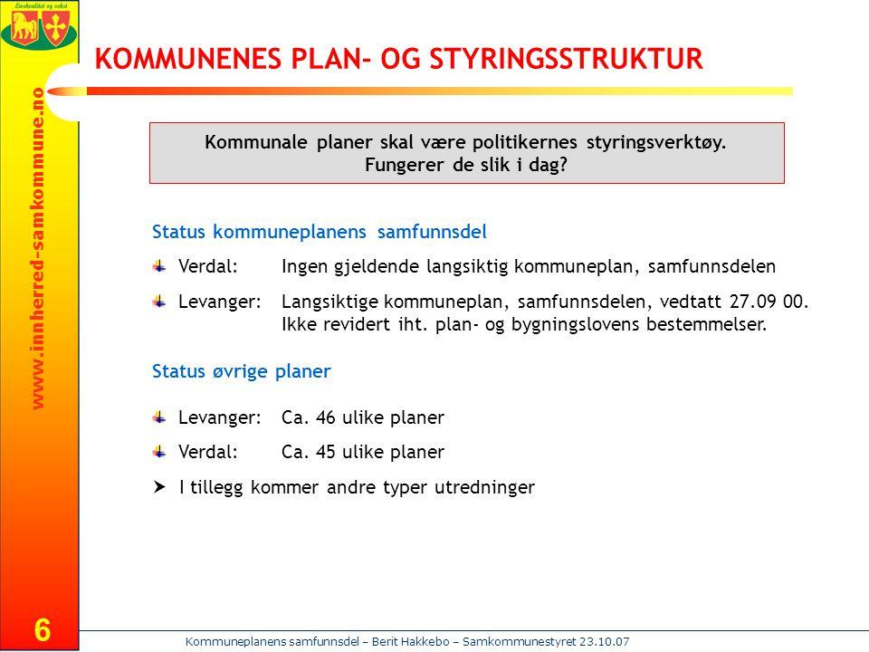 www.innherred-samkommune.no Kommuneplanens samfunnsdel – Berit Hakkebo – Samkommunestyret 23.10.07 6 KOMMUNENES PLAN- OG STYRINGSSTRUKTUR Kommunale pl