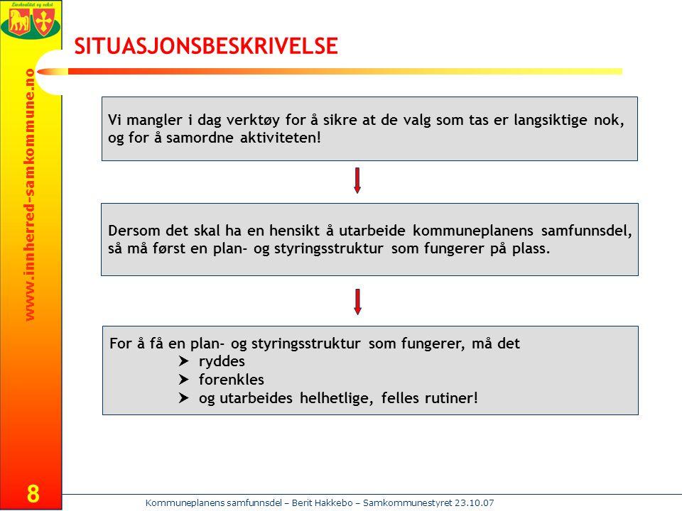 www.innherred-samkommune.no Kommuneplanens samfunnsdel – Berit Hakkebo – Samkommunestyret 23.10.07 19 Forts.