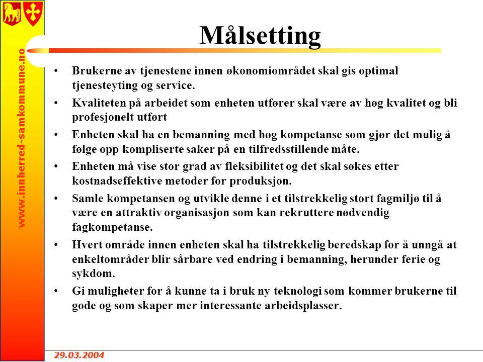 29.03.2004 www.innherred-samkommune.no Målsetting Brukerne av tjenestene innen økonomiområdet skal gis optimal tjenesteyting og service.
