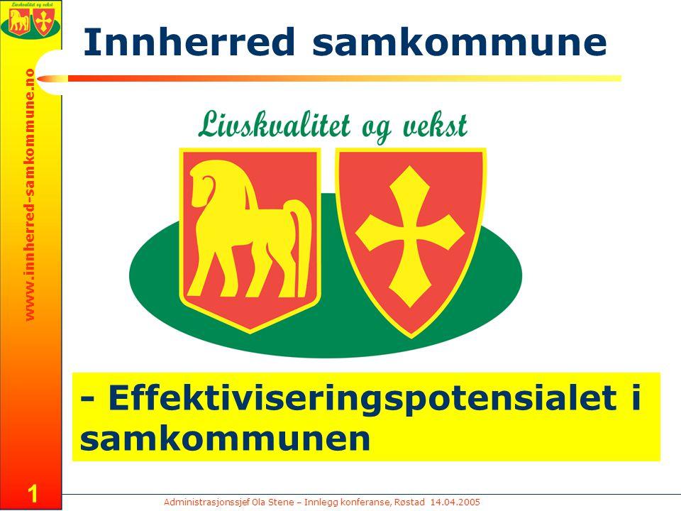 Administrasjonssjef Ola Stene – Innlegg konferanse, Røstad 14.04.2005 www.innherred-samkommune.no 1 - Effektiviseringspotensialet i samkommunen Innherred samkommune