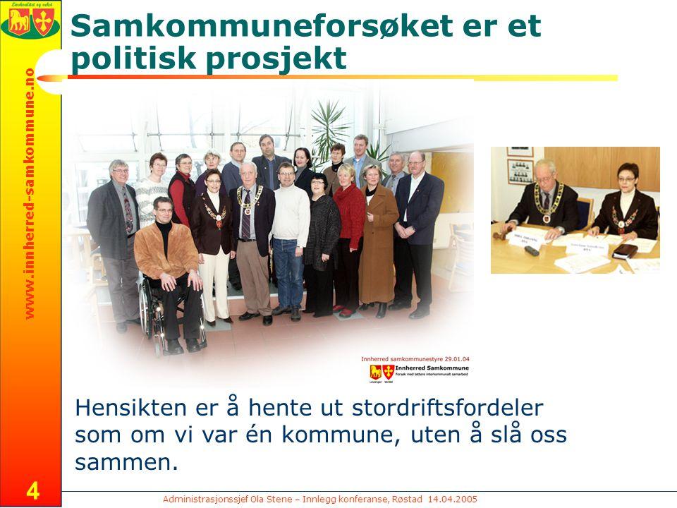 Administrasjonssjef Ola Stene – Innlegg konferanse, Røstad 14.04.2005 www.innherred-samkommune.no 25 Spørsmål ?