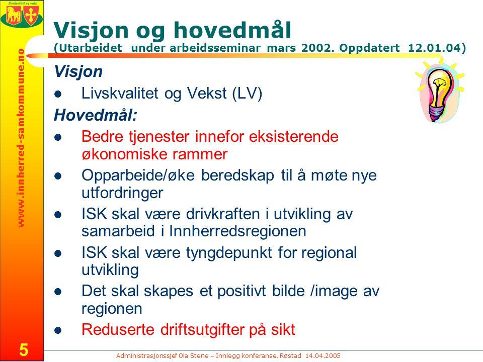 Administrasjonssjef Ola Stene – Innlegg konferanse, Røstad 14.04.2005 www.innherred-samkommune.no 5 Visjon og hovedmål (Utarbeidet under arbeidsseminar mars 2002.