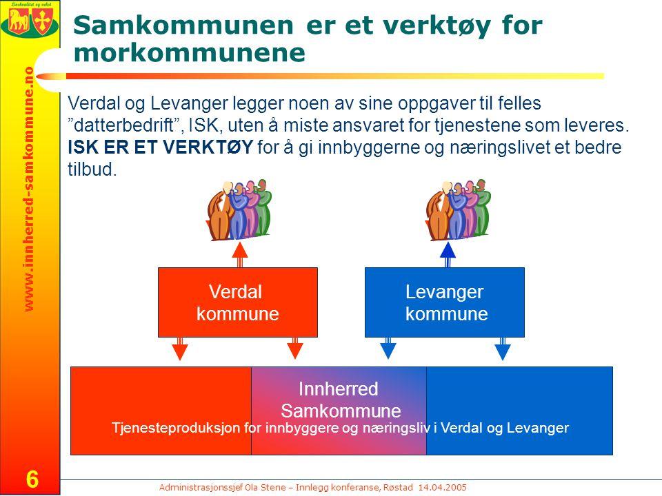 Administrasjonssjef Ola Stene – Innlegg konferanse, Røstad 14.04.2005 www.innherred-samkommune.no 17 Organisasjon pr innbygger