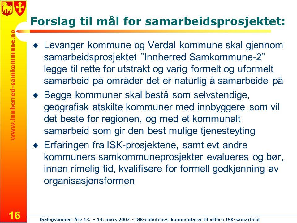 www.innherred-samkommune.no Dialogseminar Åre 13. – 14. mars 2007 - ISK-enhetenes kommentarer til videre ISK-samarbeid 16 Forslag til mål for samarbei
