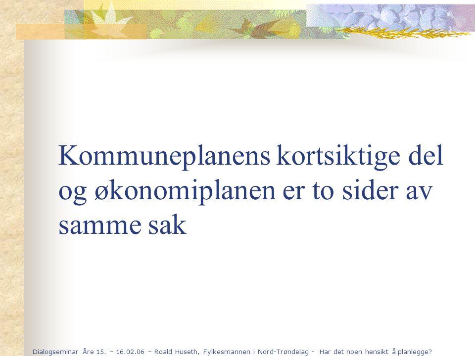 Dialogseminar Åre 15. – 16.02.06 – Roald Huseth, Fylkesmannen i Nord-Trøndelag - Har det noen hensikt å planlegge? Kommuneplanens kortsiktige del og ø