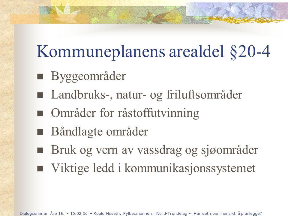 Dialogseminar Åre 15. – 16.02.06 – Roald Huseth, Fylkesmannen i Nord-Trøndelag - Har det noen hensikt å planlegge? Kommuneplanens arealdel §20-4 Bygge