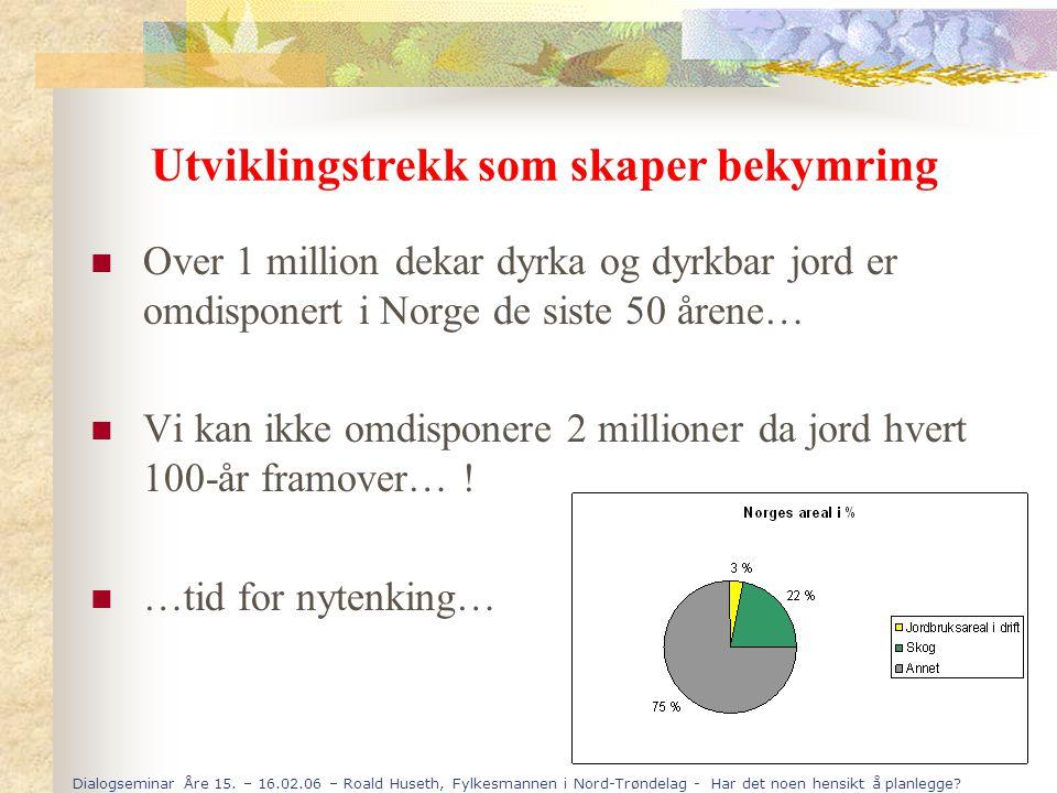 Dialogseminar Åre 15. – 16.02.06 – Roald Huseth, Fylkesmannen i Nord-Trøndelag - Har det noen hensikt å planlegge? Over 1 million dekar dyrka og dyrkb