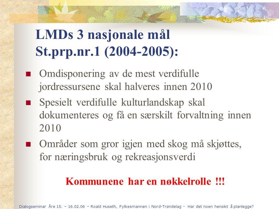Dialogseminar Åre 15. – 16.02.06 – Roald Huseth, Fylkesmannen i Nord-Trøndelag - Har det noen hensikt å planlegge? LMDs 3 nasjonale mål St.prp.nr.1 (2