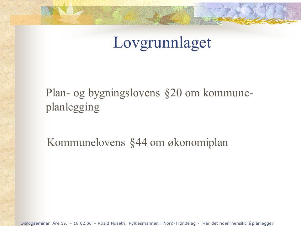Dialogseminar Åre 15. – 16.02.06 – Roald Huseth, Fylkesmannen i Nord-Trøndelag - Har det noen hensikt å planlegge? Lovgrunnlaget Plan- og bygningslove