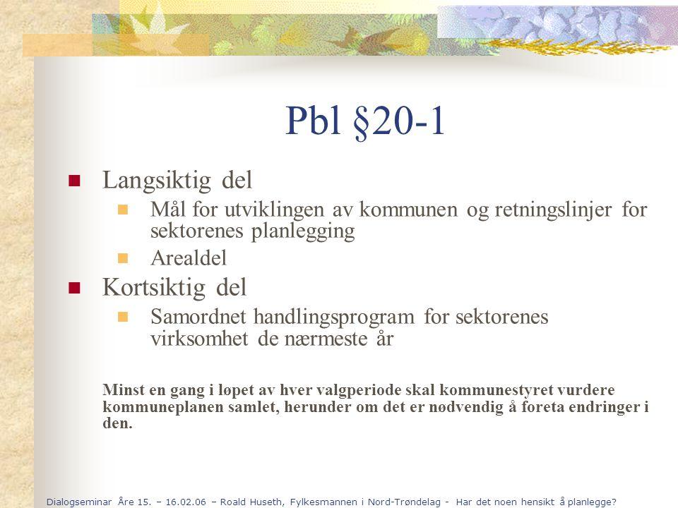 Dialogseminar Åre 15. – 16.02.06 – Roald Huseth, Fylkesmannen i Nord-Trøndelag - Har det noen hensikt å planlegge? Pbl §20-1 Langsiktig del Mål for ut