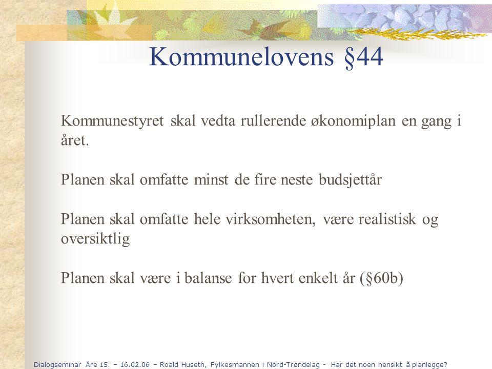 Dialogseminar Åre 15. – 16.02.06 – Roald Huseth, Fylkesmannen i Nord-Trøndelag - Har det noen hensikt å planlegge? Kommunelovens §44 Kommunestyret ska