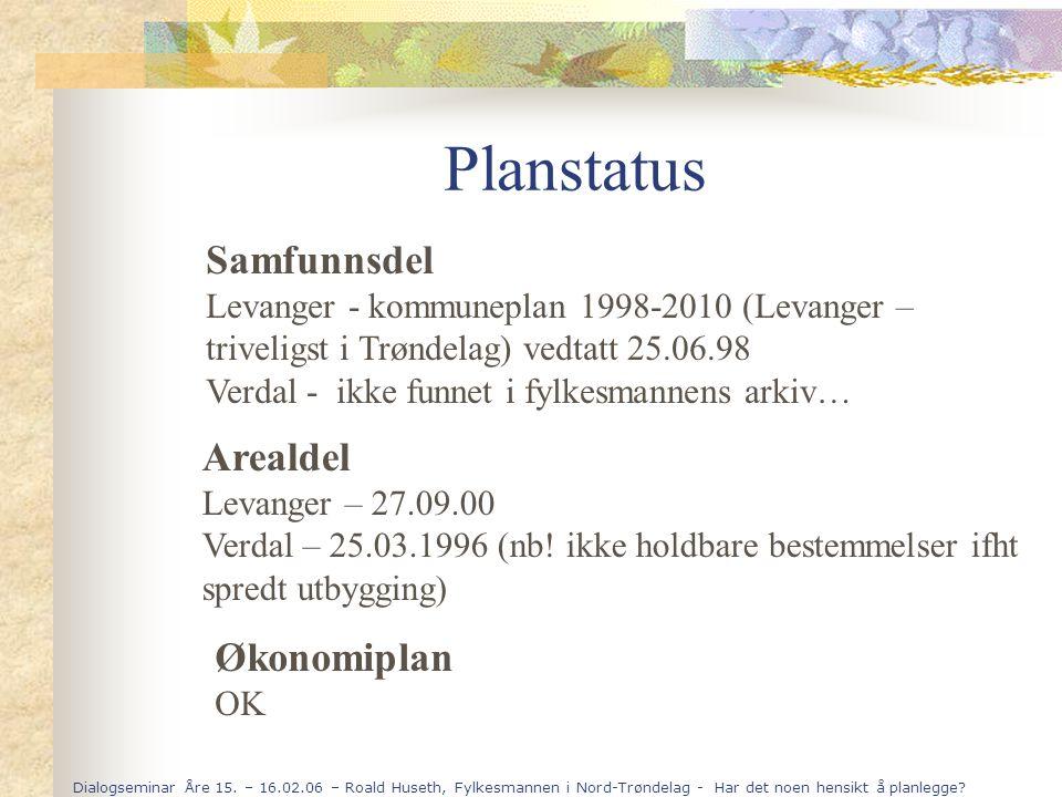 Dialogseminar Åre 15. – 16.02.06 – Roald Huseth, Fylkesmannen i Nord-Trøndelag - Har det noen hensikt å planlegge? Planstatus Samfunnsdel Levanger - k