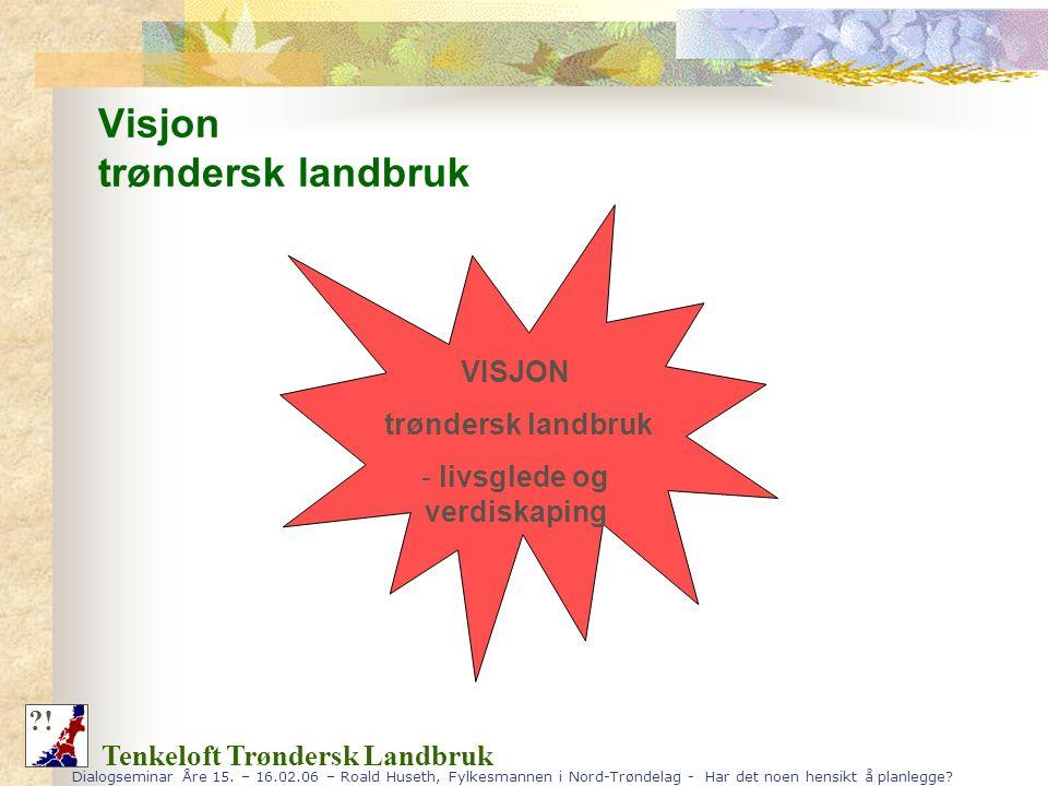 Dialogseminar Åre 15. – 16.02.06 – Roald Huseth, Fylkesmannen i Nord-Trøndelag - Har det noen hensikt å planlegge? Visjon trøndersk landbruk Tenkeloft