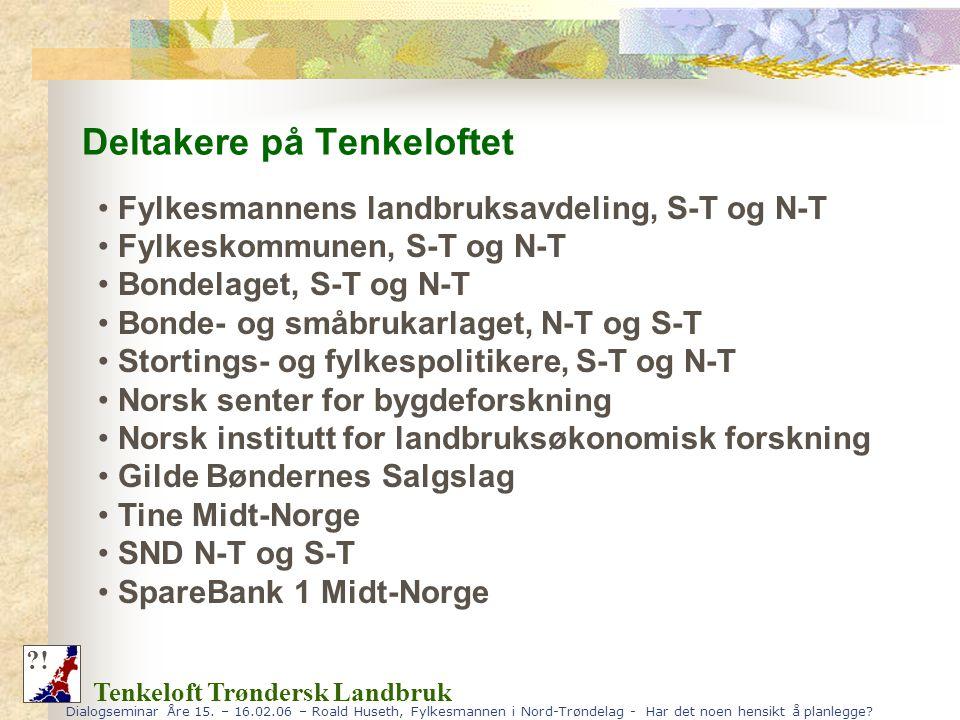 Dialogseminar Åre 15. – 16.02.06 – Roald Huseth, Fylkesmannen i Nord-Trøndelag - Har det noen hensikt å planlegge? Deltakere på Tenkeloftet Tenkeloft