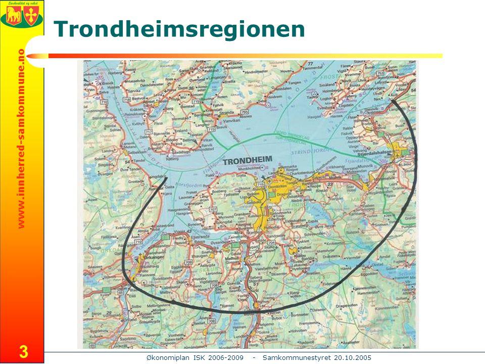 www.innherred-samkommune.no Økonomiplan ISK 2006-2009 - Samkommunestyret 20.10.2005 4 Trondheimsområdet - Utvikling Trondheimsområdet har i dag rundt 224.000 innbyggere og vel 100.000 arbeidsplasser Ifølge SSB's framskriving MMMM02 ventes dette å øke med ca 15.000 innbyggere fram til 2020 Samtidig ventes Trondheimsområdet å få vel 8.000 nye arbeidsplasser For regional utvikling rundt Trondheimsfjorden gir denne veksten store perspektiver