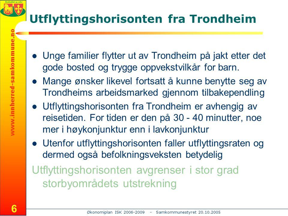 www.innherred-samkommune.no Økonomiplan ISK 2006-2009 - Samkommunestyret 20.10.2005 7 Innherred – Utvikling framover Innherred har i dag rundt 61.000 innbyggere og rundt 24.000 arbeidsplasser Fram til 2020 ventes dette ifølge SSBs framskriving MMMM02 å øke med rundt 1350 innbyggere eller vel 2% Veksten avtar raskt fra sør til nord i regionen: – Levanger:1000 innbyggere – Verdal: 370 innbygger – Inderøy: 230 innbygger – Steinkjer: 150 innbyggere – Verran:- 400 innbyggere Dette kan gi betydelige spenninger internt på Innherred