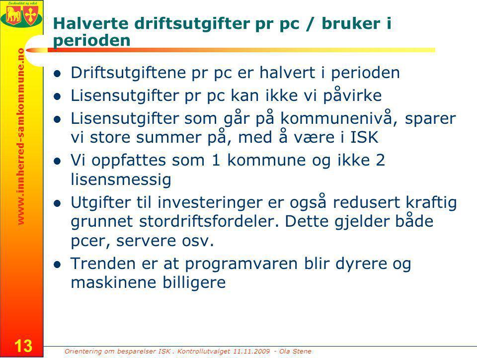 Orientering om besparelser ISK. Kontrollutvalget 11.11.2009 - Ola Stene www.innherred-samkommune.no 13 Halverte driftsutgifter pr pc / bruker i period