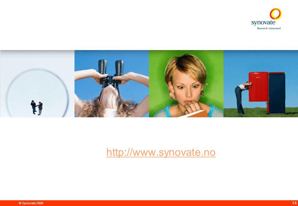 © Synovate 2008 12.00 8.70 5.48 4.63 8.24 5.73 5.27 10.7012.200.50 3.41 14 http://www.synovate.no