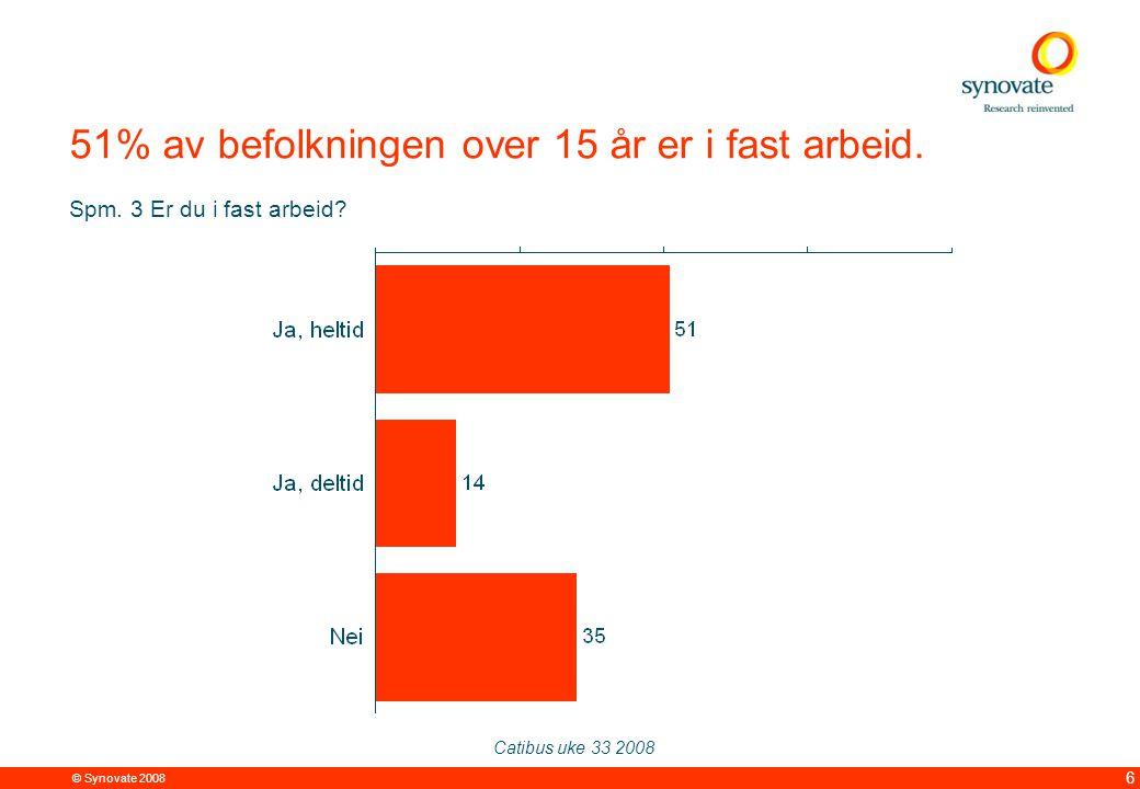 © Synovate 2008 12.00 8.70 5.48 4.63 8.24 5.73 5.27 10.7012.200.50 3.41 6 51% av befolkningen over 15 år er i fast arbeid. Catibus uke 33 2008 Spm. 3