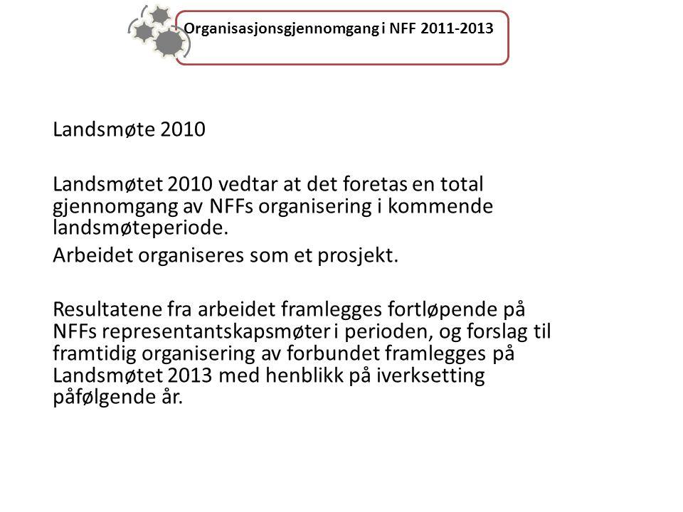 Organisasjonsgjennomgang i NFF 2011-2013 Landsmøte 2010 Landsmøtet 2010 vedtar at det foretas en total gjennomgang av NFFs organisering i kommende landsmøteperiode.