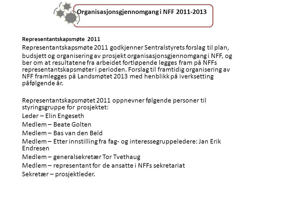 Organisasjonsgjennomgang i NFF 2011-2013 Representantskapsmøte 2011 Representantskapsmøte 2011 godkjenner Sentralstyrets forslag til plan, budsjett og organisering av prosjekt organisasjonsgjennomgang i NFF, og ber om at resultatene fra arbeidet fortløpende legges fram på NFFs representantskapsmøter i perioden.