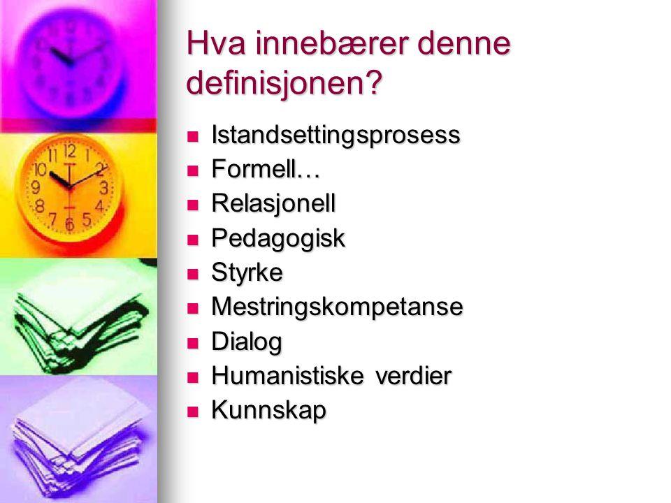 Premisser Å møte den andre der han/hun er Å møte den andre der han/hun er Tid Tid Språk, kommunikasjon Språk, kommunikasjon Rammer (fagplan, praktisk, retningslinjer…) Rammer (fagplan, praktisk, retningslinjer…) Veiledning er et paraplybegrep Veiledning er et paraplybegrep