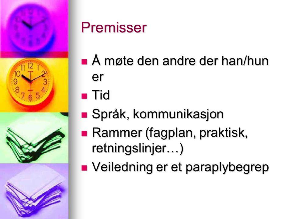 Premisser Å møte den andre der han/hun er Å møte den andre der han/hun er Tid Tid Språk, kommunikasjon Språk, kommunikasjon Rammer (fagplan, praktisk,