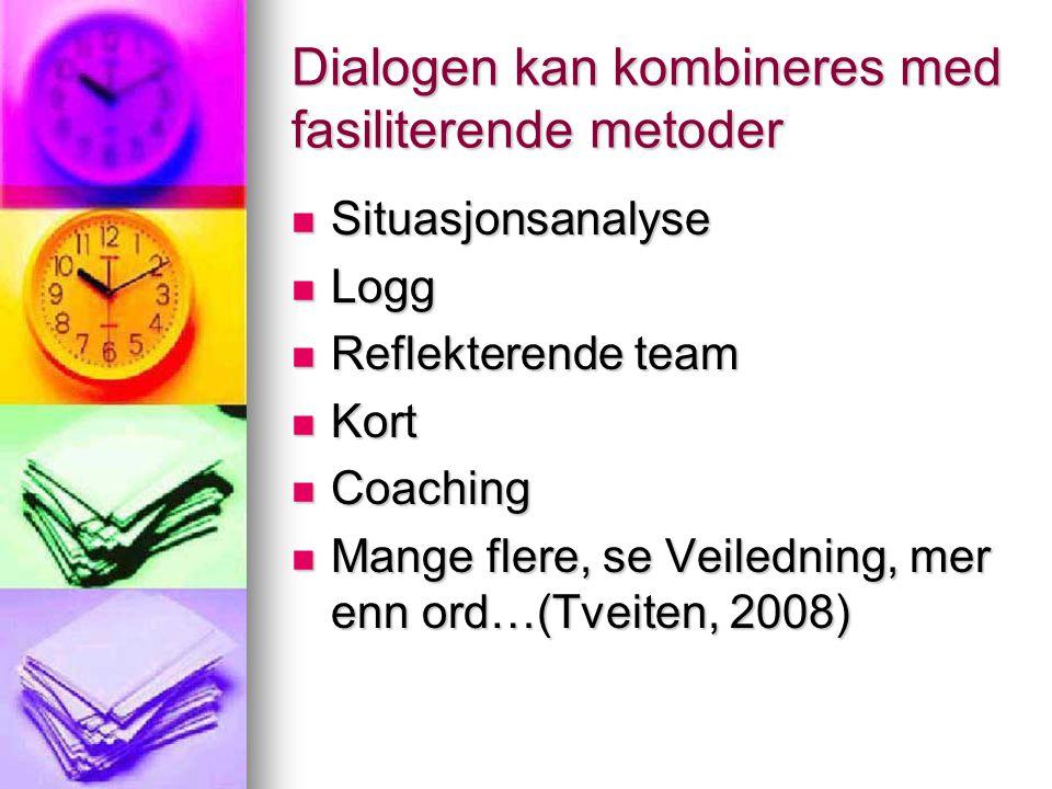 Dialogen kan kombineres med fasiliterende metoder Situasjonsanalyse Situasjonsanalyse Logg Logg Reflekterende team Reflekterende team Kort Kort Coachi