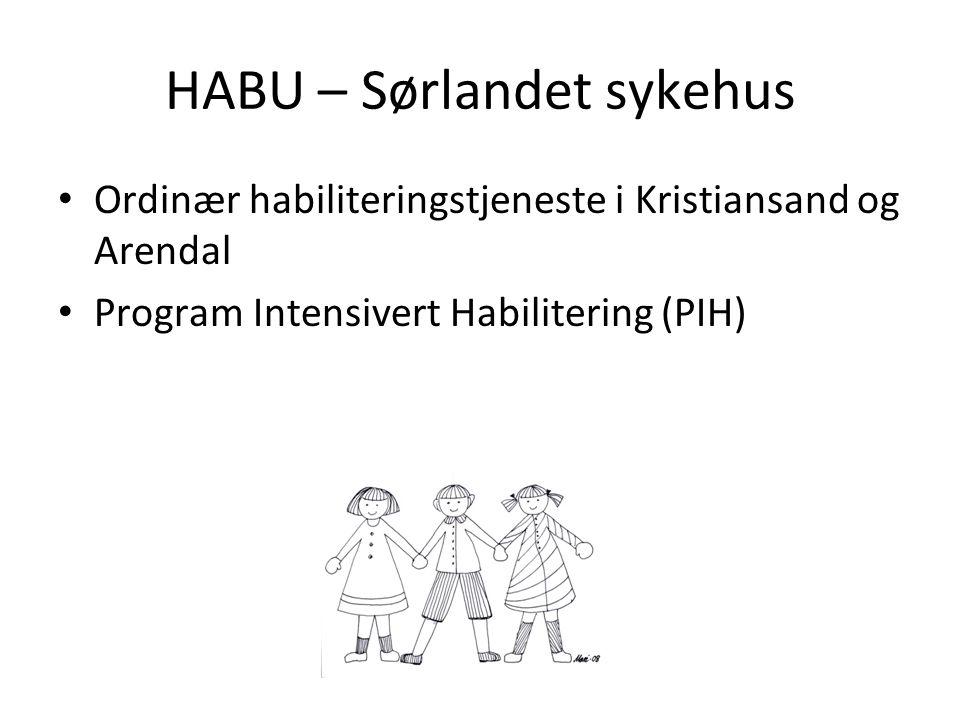 PIH Regionalt henvisningskompetansesenter i Helse Sør-Øst Lokalisert til HABU-Kristiansand Har som oppgave å gjennomføre intensiverte habiliteringsprogram og drive forskning og utvikling Tilbys førskolebarn (2-4 år) med CP og lignende tilstander