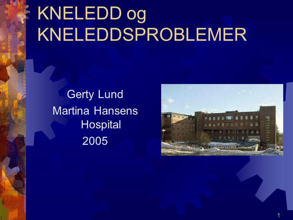 1 KNELEDD og KNELEDDSPROBLEMER Gerty Lund Martina Hansens Hospital 2005