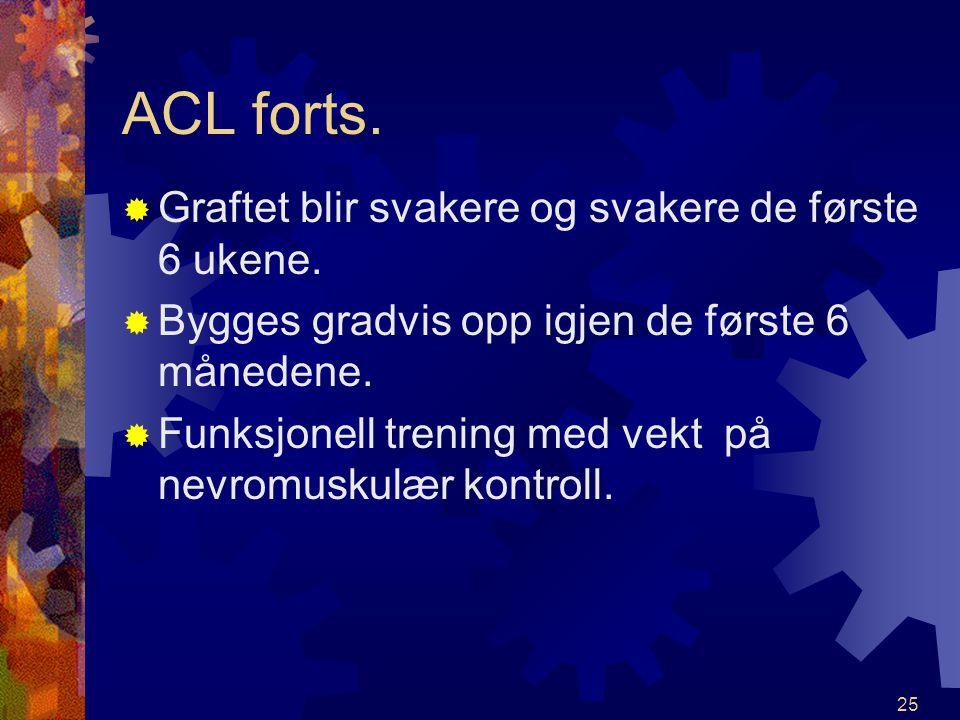 24 Opptreningshensyn etter ACL- plastikk RRO første 2 uker for å holde hevelse nede!!! CCryocuff EElevasjon EEgentrening. Kontroll fysio. MHH