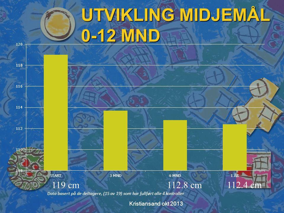 UTVIKLING MIDJEMÅL 0-12 MND Data basert på de deltagere, (15 av 19) som har fullført alle 4 kontroller 119 cm112.8 cm112.4 cm Kristiansand okt 2013
