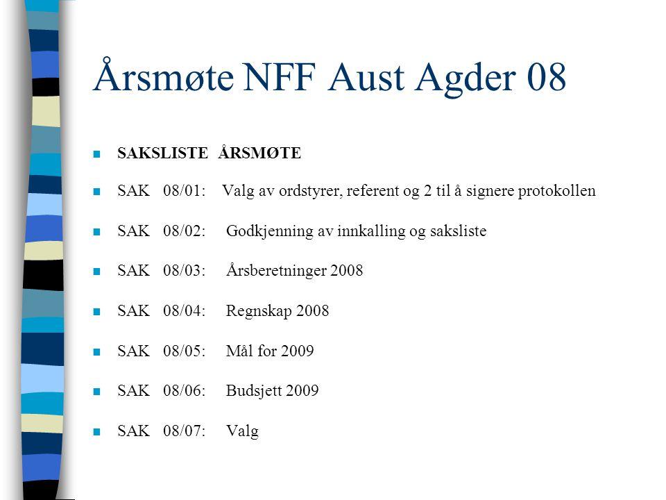 ÅRSMØTE 2008 Norsk Fysioterapeut Forbund AVDELING AUST-AGDER Hjertelig velkommen!