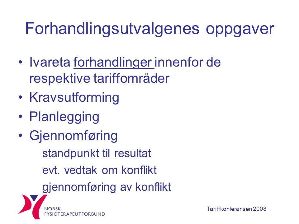 Tariffkonferansen 2008 Forhandlingsutvalgenes oppgaver Ivareta forhandlinger innenfor de respektive tariffområder Kravsutforming Planlegging Gjennomføring standpunkt til resultat evt.