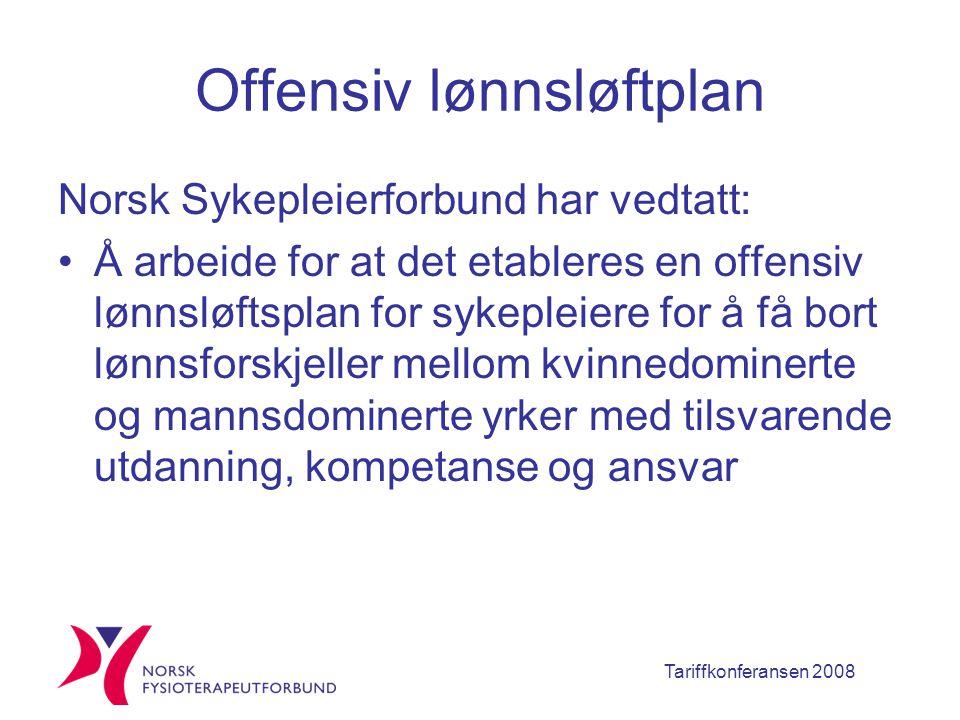 Tariffkonferansen 2008 Offensiv lønnsløftplan Norsk Sykepleierforbund har vedtatt: Å arbeide for at det etableres en offensiv lønnsløftsplan for sykepleiere for å få bort lønnsforskjeller mellom kvinnedominerte og mannsdominerte yrker med tilsvarende utdanning, kompetanse og ansvar