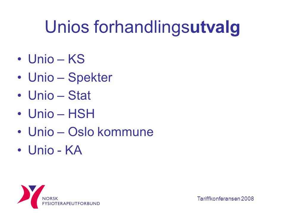 Tariffkonferansen 2008 Unios forhandlingsutvalg Unio – KS Unio – Spekter Unio – Stat Unio – HSH Unio – Oslo kommune Unio - KA