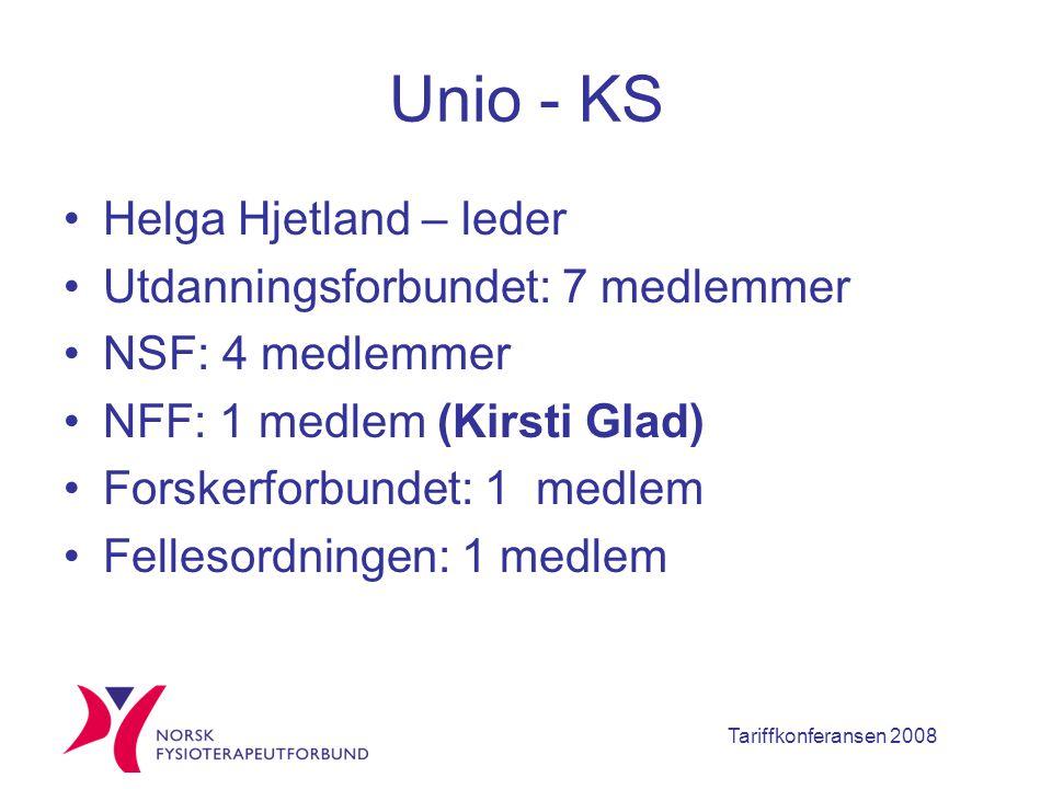 Tariffkonferansen 2008 Unio - KS Helga Hjetland – leder Utdanningsforbundet: 7 medlemmer NSF: 4 medlemmer NFF: 1 medlem (Kirsti Glad) Forskerforbundet: 1 medlem Fellesordningen: 1 medlem