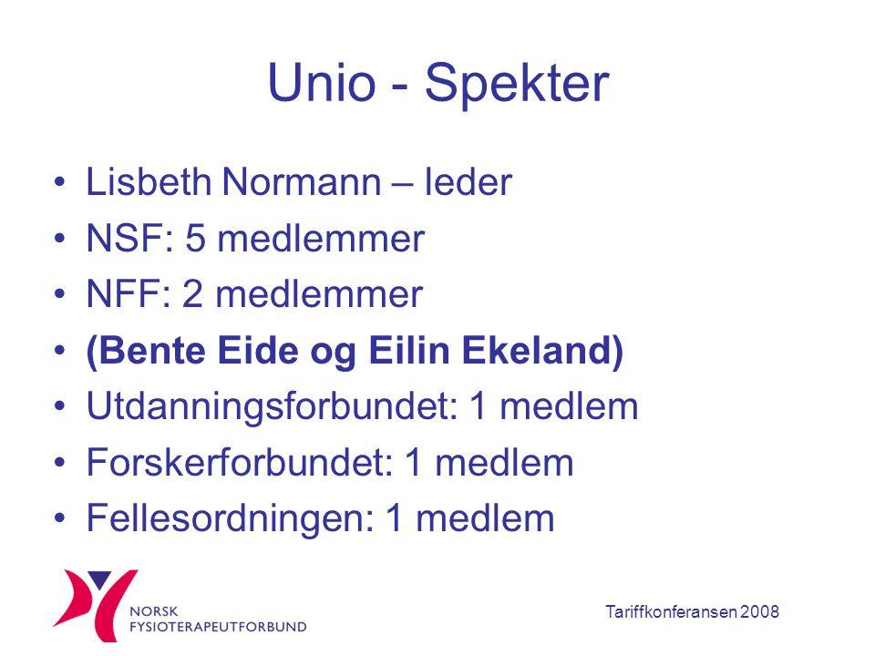 Tariffkonferansen 2008 Unio - Spekter Lisbeth Normann – leder NSF: 5 medlemmer NFF: 2 medlemmer (Bente Eide og Eilin Ekeland) Utdanningsforbundet: 1 medlem Forskerforbundet: 1 medlem Fellesordningen: 1 medlem