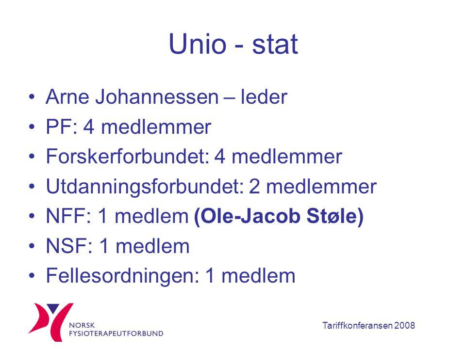 Tariffkonferansen 2008 Unio - stat Arne Johannessen – leder PF: 4 medlemmer Forskerforbundet: 4 medlemmer Utdanningsforbundet: 2 medlemmer NFF: 1 medlem (Ole-Jacob Støle) NSF: 1 medlem Fellesordningen: 1 medlem