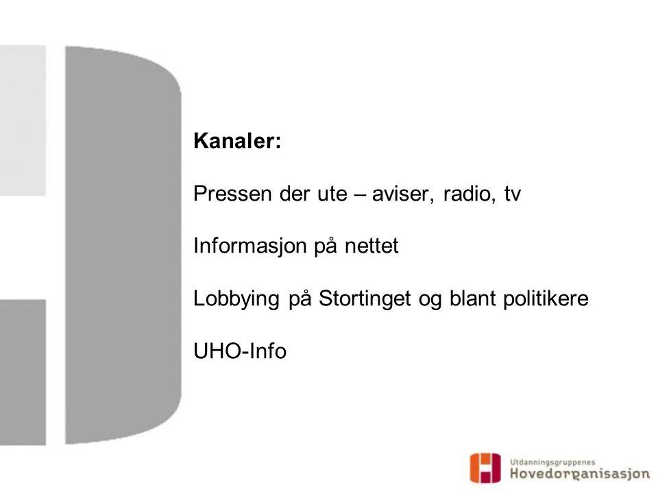 Kanaler: Pressen der ute – aviser, radio, tv Informasjon på nettet Lobbying på Stortinget og blant politikere UHO-Info